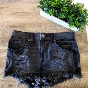 Express Black Distressed Ripped Cutoff Shorts